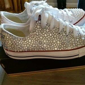 White jeweled converse